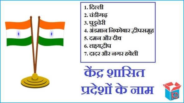 Union Territories In Hindi